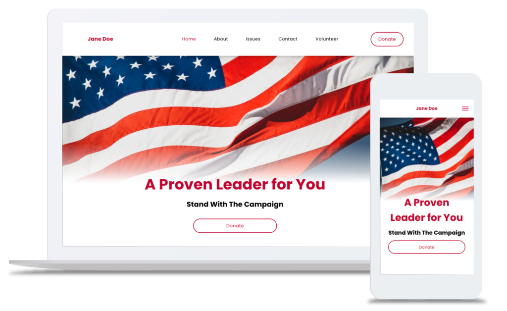 example website made using Ryvall's political campaign website builder